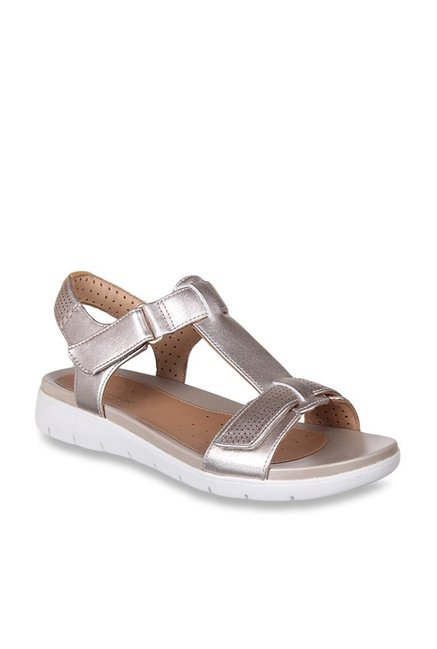 c80df21dd51f Buy Clarks Un Haywood Rose Gold Ankle Strap Sandals for Women at Best Price    Tata CLiQ