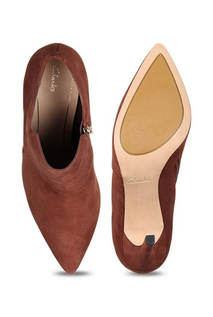 ab8316a60b8fc Buy Clarks Dinah Spice Dark Tan Stiletto Booties for Women at Best ...