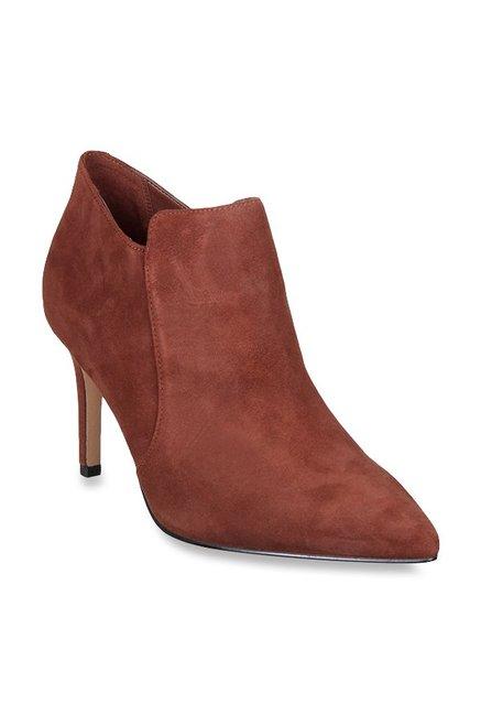 2b435064f525b Buy Clarks Dinah Spice Dark Tan Stiletto Booties for Women at Best Price @  Tata CLiQ