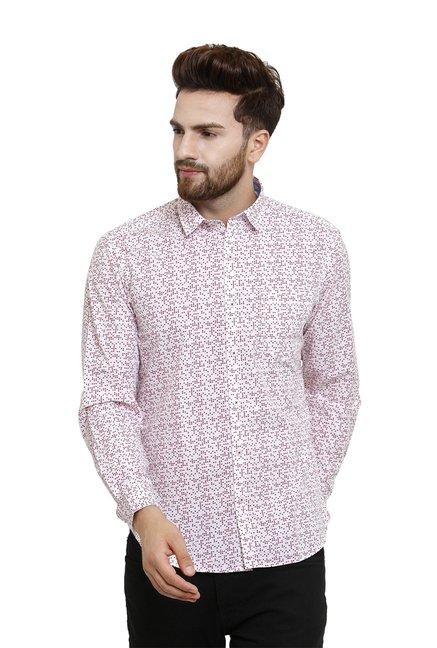 96bae13c1e4 Buy John Players Maroon & White Printed Slim Fit Shirt for Men ...