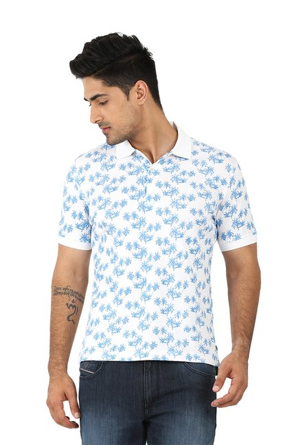 1bb188dec3d Buy John Players Blue & White Printed Polo T-Shirt for Men Online ...