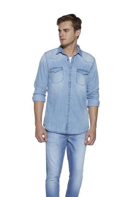 d00a1ddde Buy Nuon by Westside Slim Fit Light Blue Denim Shirt for Men Online ...