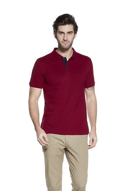 Westsport by Westside Maroon Slim Fit Polo T-Shirt