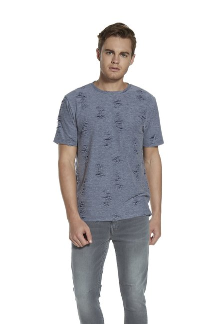 0475bef8 Buy Nuon by Westside Light Blue Slim Fit Distressed T-Shirt for Men Online  @ Tata CLiQ