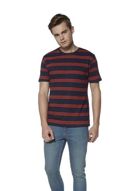 7ac6e467 Buy Nuon by Westside Navy Slim Fit Striped T-Shirt for Men Online @ Tata  CLiQ