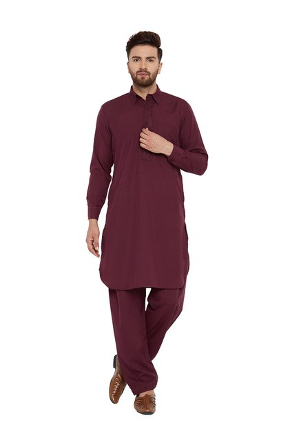 2826295fa9 Buy Sojanya Maroon Full Sleeves Pathani Kurta Set for Men Online @ Tata CLiQ