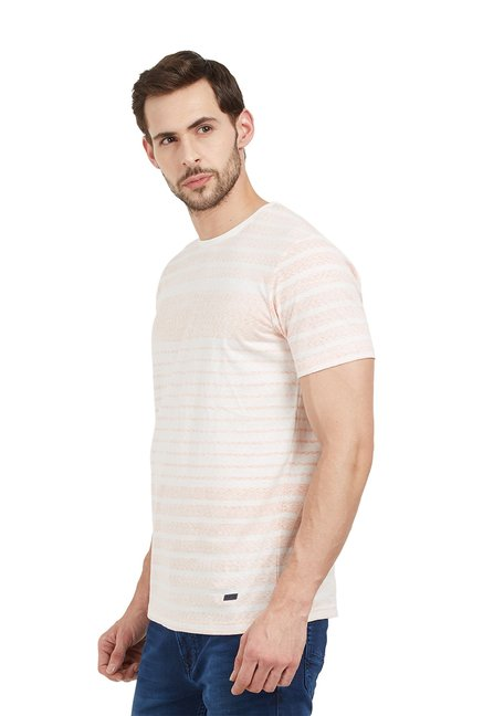 Buy Easies Peach Cotton Half Sleeves Slim Fit T-Shirt for Men Online ... 003abbea7