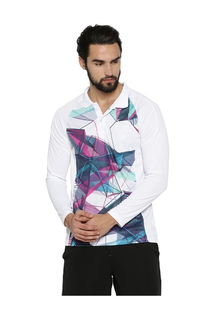 e2fd930eb05 Buy Campus Sutra White Shirt Collar Polyester T-Shirt for Men Online ...