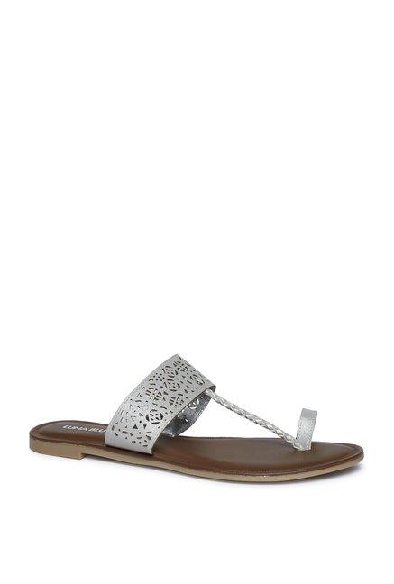 c0b5e488334e Buy LUNA BLU by Westside Silver Kolhapuri Sandals For Women Online At Tata  CLiQ