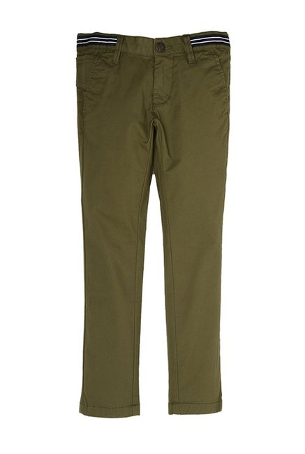 e39788ee57 Buy Indian Terrain Kids Olive Solid Trousers for Boys Clothing Online @  Tata CLiQ