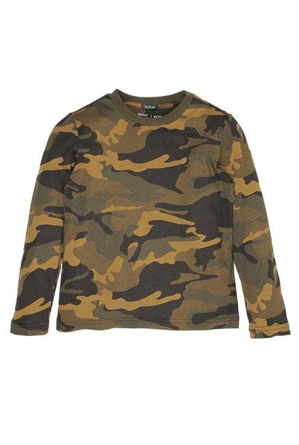 0aeee9ec4 Buy Indian Terrain Kids Khaki Camouflage T-Shirt for Boys Clothing ...