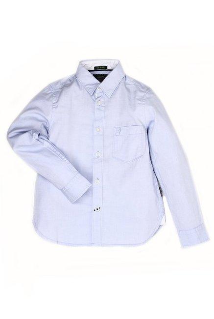 954ddf5c2ccc6c Buy Indian Terrain Kids Blue Solid Shirt for Boys Clothing Online   Tata  CLiQ