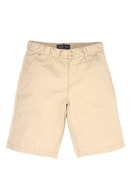 5676e2d0 Buy Indian Terrain Kids Beige Solid Shorts for Boys Clothing Online @ Tata  CLiQ