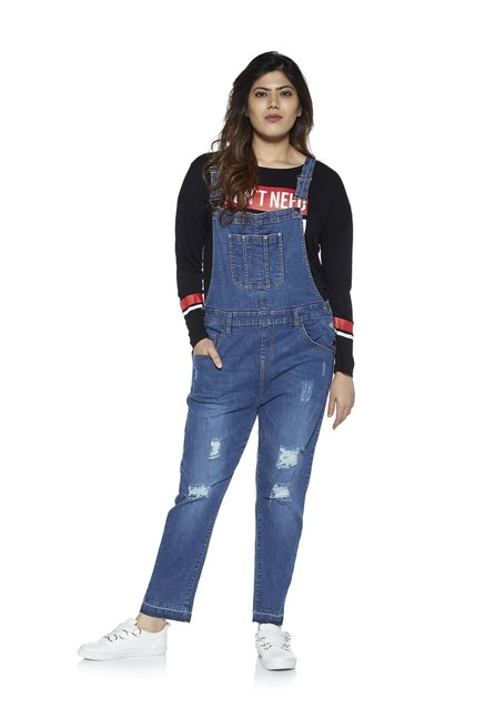 8647668460a Buy Sassy Soda curve by Westside Blue Distressed Denim Jumpsuit for Women  Online   Tata CLiQ