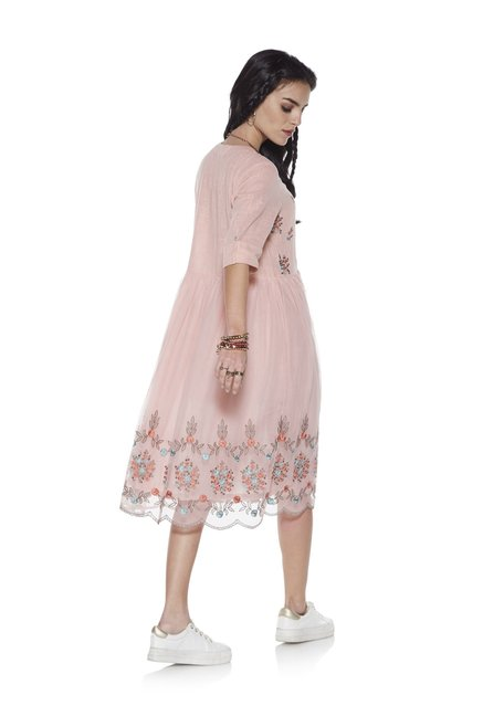 44bde047314 Buy Bombay Paisley by Westside Peach Fit-and-Flare Dress for Women ...