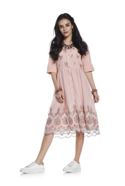 fde85ecddfb Buy Bombay Paisley by Westside Peach Fit-and-Flare Dress for Women Online @  Tata CLiQ