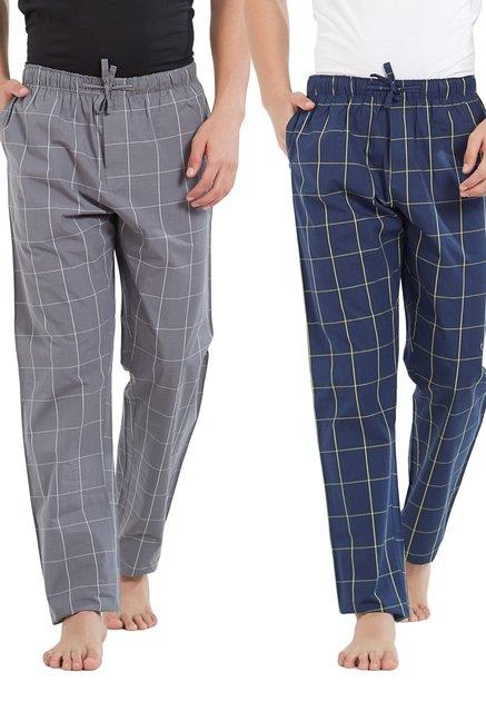 XYXX Grey   Navy Checks Pyjama Pants  Pack Of 2