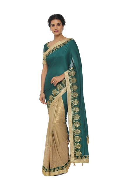 1a3e6148990 Buy Soch Green Embroidered Art Silk Saree With Blouse for Women ...