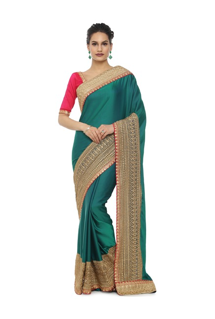 b156b40ed29 Buy Soch Green Embroidered Art Silk Saree With Blouse for Women Online    Tata CLiQ
