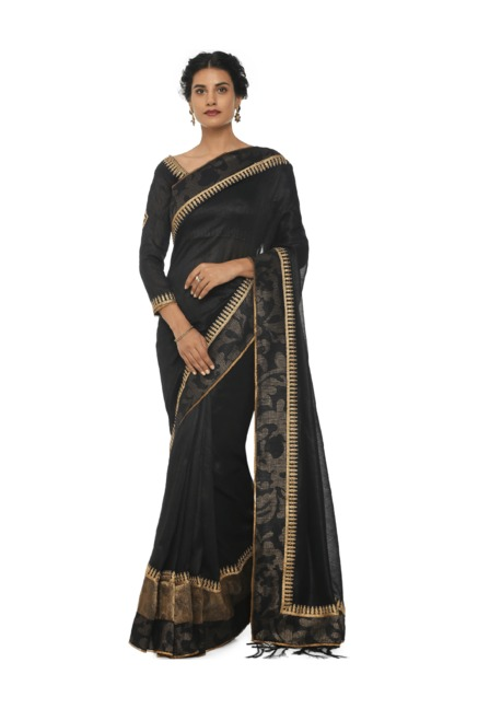 0d4ad4685b4437 Buy Soch Black Embroidered Art Silk Saree With Blouse for Women ...