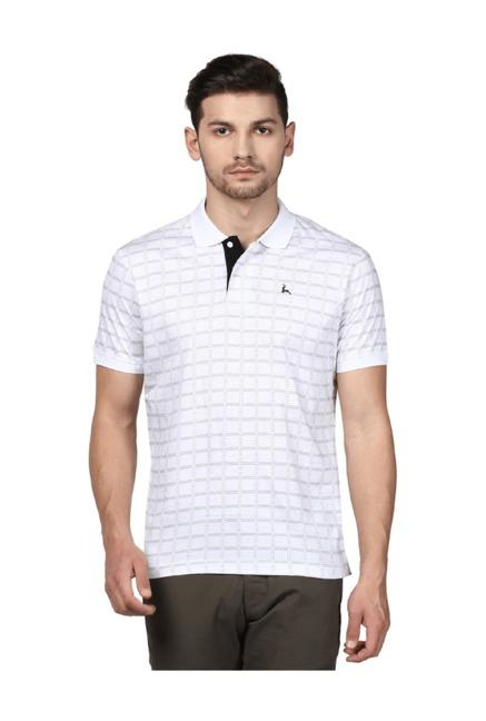 9da8b1da5fb Buy Parx White Half Sleeves Checks T-Shirt for Men Online   Tata CLiQ