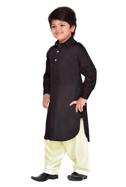 d178d37a41 Buy AJ Dezines Kids Black & Beige Solid Pathani Suit for Boys ...