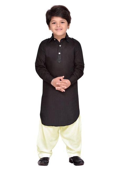 1b091cf07c5f4 Buy AJ Dezines Kids Black & Beige Solid Pathani Suit for Boys Clothing  Online @ Tata CLiQ