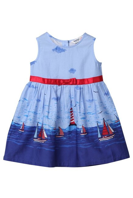 06d59987aaa5c Buy Beebay Kids Blue Printed Dress for Infant Girls Clothing Online @ Tata  CLiQ