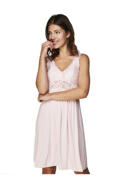 efc96ef141b3 Buy Hunkemoller Peach Skin Modal Lace Viscose Slip Dress for Women Online @  Tata CLiQ