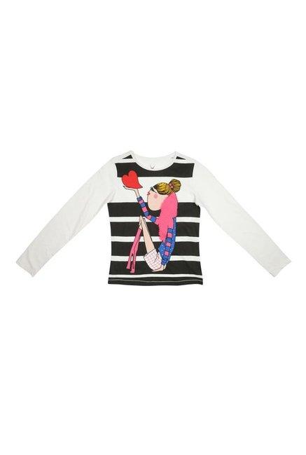 b67109196 Buy Allen Solly Junior White   Black Printed T-Shirt for Girls ...