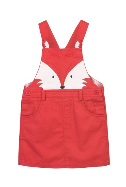 cd468f4689 Buy Beebay Kids Red Printed Dungaree Dress for Girls Clothing Online @ Tata  CLiQ