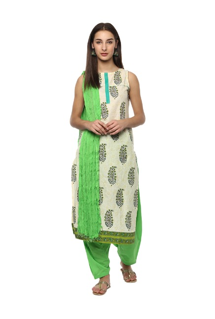 Jaipur Kurti Green Cotton Salwar With Dupatta