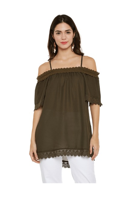 167f91333c358 Buy Oxolloxo Olive Cold Shoulder Top for Women Online   Tata CLiQ