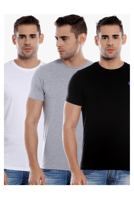 9362161c Buy Killer White, Grey & Black Slim Fit T-Shirt (Pack of 3) for Men Online  @ Tata CLiQ