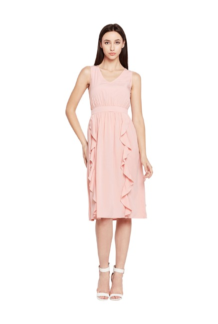 1c3541a0db4 Buy Oxolloxo Pink Polyester Knee Length Dress for Women Online ...