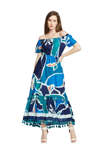 02b471fde0cf Buy Oxolloxo Multicolor Off Shoulder Printed Maxi Dress for Women Online    Tata CLiQ