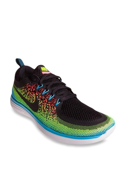 timeless design f92cb f5926 Buy Nike Free RN Distance 2 Black & Lime Green Running Shoes ...