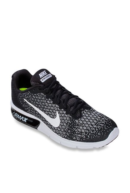 new arrival dc585 78835 Buy Nike Air Max Sequent 2 Black   Grey Running Shoes for Men at Best Price    Tata CLiQ