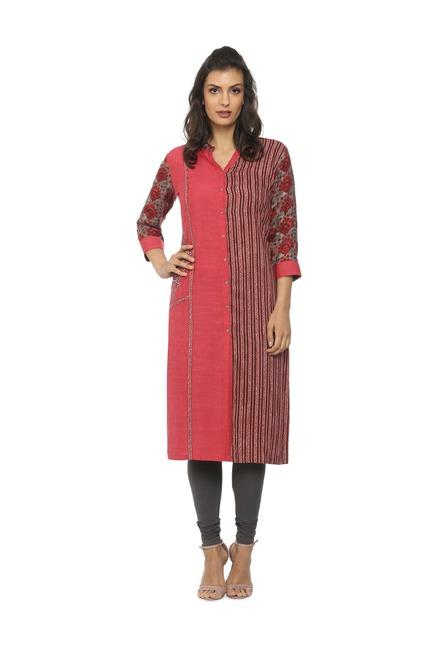 0054b147a4 Buy Soch Pink Embroidered Cotton Kurta for Women Online @ Tata CLiQ