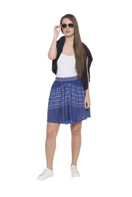 Globus Navy Printed Mini Skirt