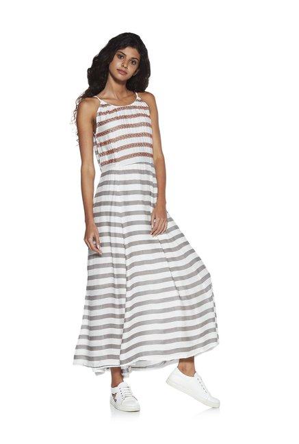 Buy Zudio Off White Mahi Striped Maxi Dress for Women Online ... 59a16661254f