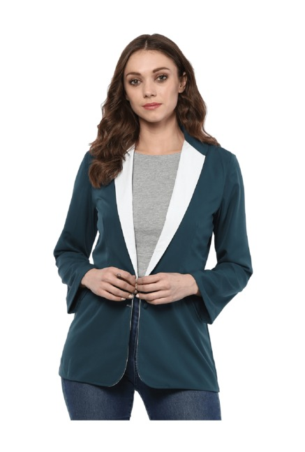 Bohobi Women's Solid Teal Green Full Sleeve Jacket