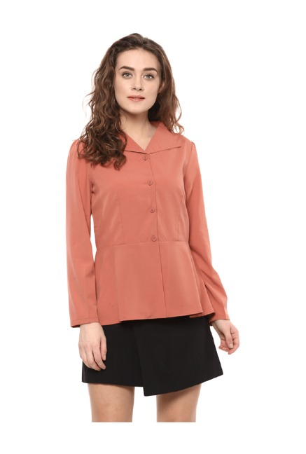 Bohobi Women's Pastel Orange Peplum Jacket