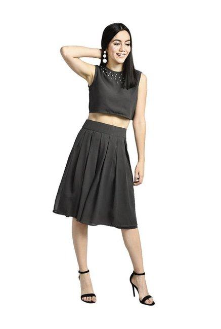 37d9f5a817 Buy Bohobi Grey Pleated Knee Length Skirt for Women Online @ Tata CLiQ