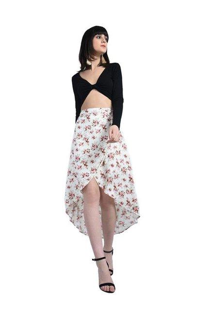 Bohobi White Floral Print Wrap Skirt