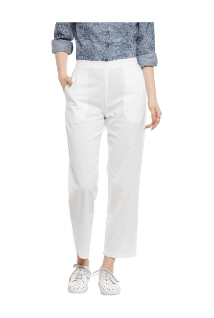 Bohobi White Regular Fit Linen Harem Pants