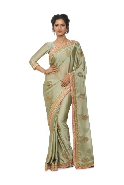 9ba4ee78e9235e Buy Soch Green Embroidered Silk Saree for Women Online @ Tata CLiQ