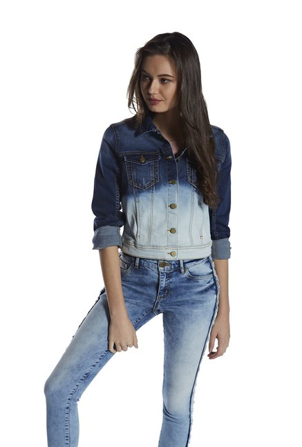 17a8ea4b530be Buy Nuon by Westside Blue Ombre Denim Jacket for Women Online   Tata CLiQ