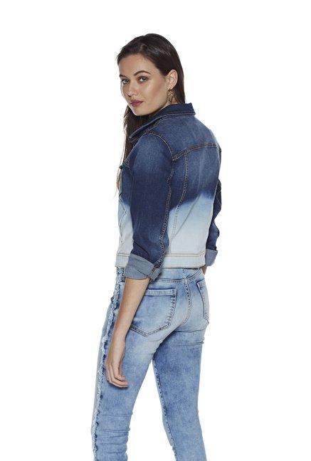 42816ac4d Buy Nuon by Westside Blue Ombre Denim Jacket for Women Online @ Tata ...