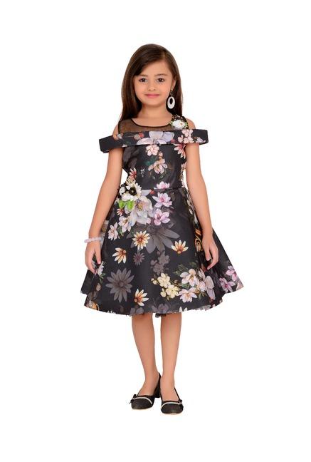 555c4e2b2e Buy Adiva Kids Black Floral Print Dress for Girls clothing Online ...